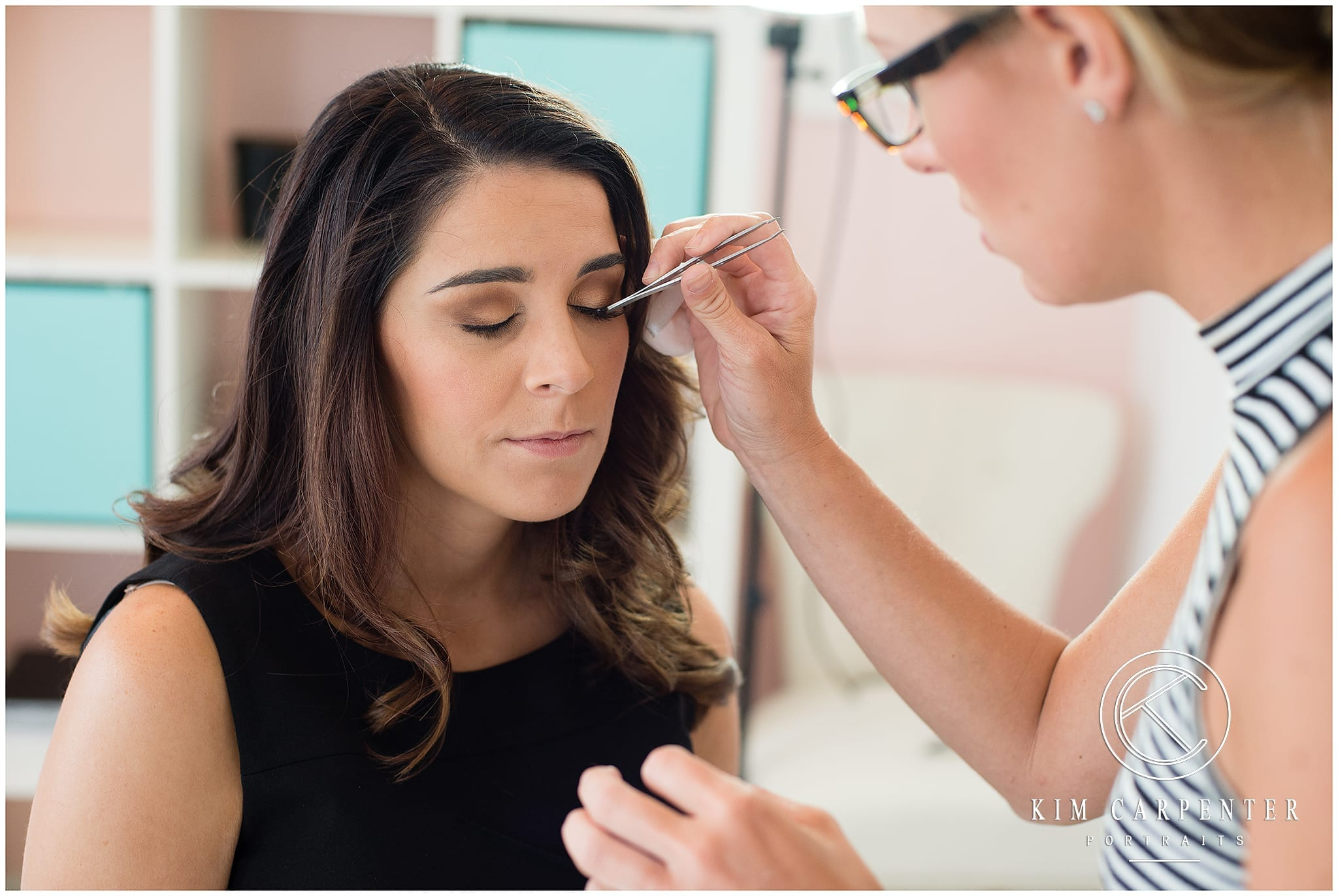 Woman getting her eyelashes professionally done for her professional headshots. Lakeland Photographer, professional headshots